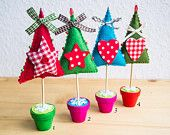 Enchanted forest -Whimsical Felt Christmas Trees with Gingham Polka Dots Waldorf Inspired Christmas Decorations - Choose 1 tree