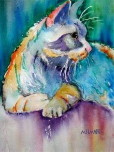 """'Sunshine Feline' -- """"Painting a portrait like this one is an example of what you can do at the Marianne St. Marie 'Watercolor Animals' workshop at ASA. Art Watercolor, Watercolor Animals, Illustration Photo, Illustrations, Image Chat, Crazy Cats, Cat Art, Love Art, Painting & Drawing"""