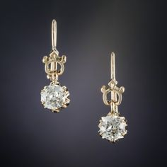 Victorian .80 Carat Diamond Earrings