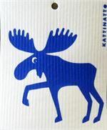 Swedish Handscreened Dishwashing Sponge, Moose/Blue