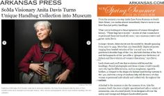Anita Davis - the owner and collector of the legendary Esse Purse Museum in Little Rock USA holding Anya Sushko's Grey Grande Sunburst #Bag, 2012 Collection.  Read this lovely tribute here http://www.inarkansas.com/article/soiree/96799/soma-visionary-anita-davis-turns-unique-handbag-collection-into-museum    #fashion #usa #luxury