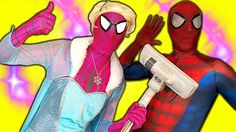 Frozen Elsa Cinderella vs Spiderman Pink Spidergirl in real life SpiderE...