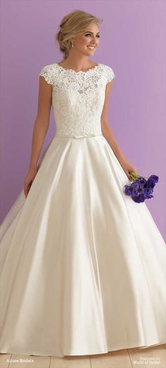 Wedding Dresses, Bridesmaid Dresses, Prom Dresses and Bridal Dresses Allure Romance Wedding Dresses - Style 2914 - Allure Romance Wedding Dresses, Fit for royalty, this cap sleeved ballgown pairs gorgeous lace with shimmering satin. Modest Wedding Dresses, Bridal Dresses, Bridesmaid Dresses, Gown Wedding, Grad Dresses, Lace Wedding Dress Ballgown, 2018 Wedding Dresses Trends, Halter Dresses, Wedding Gowns With Sleeves