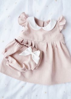 Handmade Vintage Style Linen Baby Toddler Dress | Dabishoo on Etsy