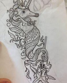 Unicorn Seahorse tattoo with mermaid Butterfly Sleeve Tattoo, Ocean Sleeve Tattoos, Best Sleeve Tattoos, Sleeve Tattoos For Women, Tattoo Sleeve Designs, Ocean Theme Tattoos, Wolf Tattoos, Unicorn Tattoos, Mermaid Tattoos
