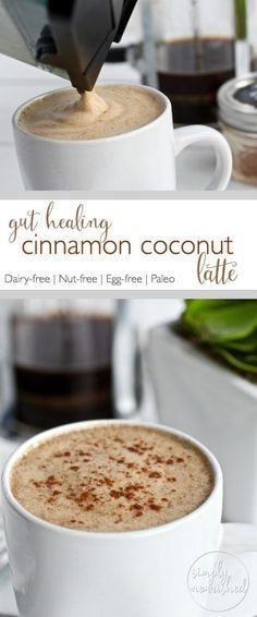 Gut-healing Cinnamon Coconut Latte Start your day off right with this creamy delicious coffee drink - abundant in metabolism boosting fats and gut-healing collagen. Yummy Drinks, Healthy Drinks, Yummy Food, Tasty, Healthy Food, Healthy Smoothies, Green Smoothies, Healthy Tips, Healthy Meals