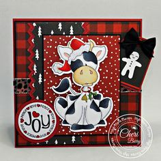 """High Hopes Stamps: Moo-ry Christmas! by Cheri using """"Chillin Charlie Christmas Cow"""" (TT049)"""