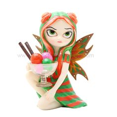 Rainbow Sherbet Fairy - $22.99 - This little pixie is hoarding a big bowl of one of the tastiest, most colorful treats... rainbow sherbet!