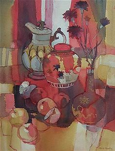 View Red Apples with Chinese Jar By Moira Huntly; Access more artwork lots and estimated & realized auction prices on MutualArt. Guache, Still Life Art, Art Database, Creative Activities, Art Plastique, Art Auction, Contemporary Artists, Landscape Paintings, Drawings