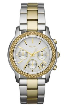 Not a DKNY fan but love this watch and its on sale right now Donna Karan, Krystal, Michael Kors Watch, Gold Watch, Bracelet Watch, Quartz, Jewels, Bracelets, Accessories