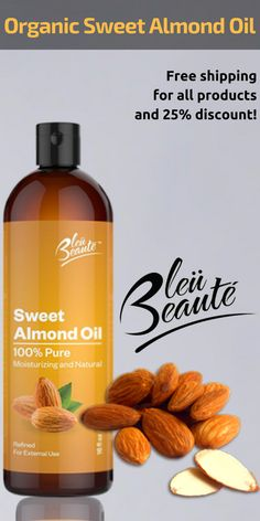 @bleubeaute Sweet Almond Oil is cold pressed and is filled with large amounts of antioxidants, essential fatty acids, Vitamins A, B, D, and E. It improves health of skin by improving complexion & glow. www.bleubeaute.com