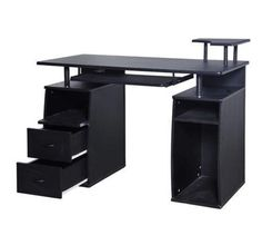 HomCom Home Office / Dorm Computer Desk w/ Elevated Shelf - Black