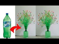 skcrafts: DIY Flower Vase using with Plastic bottle ! Water Bottle Crafts, Reuse Plastic Bottles, Plastic Bottle Flowers, Flower Bottle, Plastic Bottle Crafts, Diy Bottle, Plastic Vase, Recycled Bottles, Diy Flowers