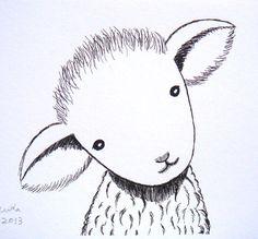 Nursery Art Lamb Sheep Ink Drawing Print Illustration by mikaart, $9.99