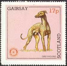 Greyhound dog stamp from Scotland