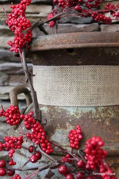 An old milk can with a burlap collar ~Christmas Mantel 2012 by Turnstyle Vogue (5)