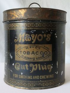 SCARCE MAYO S CUT PLUG OATMEAL TOBACCO TIN CANISTER Tobacco Pipes, Canisters, Tins, Coffee Cans, Whiskey Bottle, Plugs, Oatmeal, Lunch Box, Country