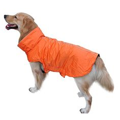 Sunward Pet Dog Puppy Raincoat Waterproof Coat Jacket for Spring Summer Autumn Winter (L, Orange) * Click image to read more details.