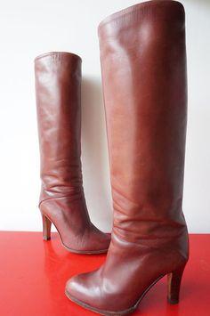 Bottes Boots Cuir Leather Vintage 70 VTG seventies T 39 bOHeme Hippy COmme neuf