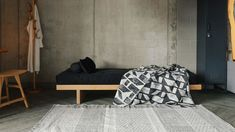oak-kyoto-with-block-pattern-blanket Daybed, Sofa Bed, Bedroom Styles, Bedroom Ideas, Japanese Style Bedroom, Bed Company, Futon Covers, Bedding Collections, Modern Bedroom