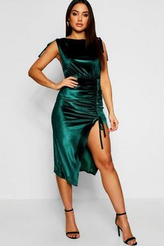 2dd23927bd16 Velvet Ruched Detail Thigh Split Midi Dress - boohoo, party dress, holiday  dress,