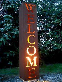 Metall Rostsäule Säule Welcome H.100 Pflanzsäule Gartendeko Edelrost Schild Rost