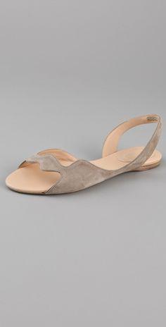 Jil Sander Wavy Suede Flat Sandals thestylecure.com