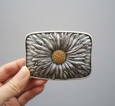 Silver Plated Swarovski Rhinestones Blooming Daisy Metal Fashion Belt Buckle  | eBay