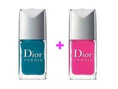 Sono venduti in coppia gli smalti blu turchese e rosa ibisco. Da indossare sulle unghie come un bikini, in un duo di colori elettrici.  Dior Vernis Bird of Paradise