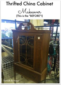 Thrift China Cabinet Makeover - Hard to believe I found this hutch at the thrift store for only $40! I actually debated on walking away, which is CRAZY. I am so glad I bought it! See the AFTER on the post!