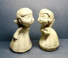 Vintage 7 Kissing Angels Chalkware Figurines Vintage by DsTrove