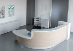 Reception Desks - Contemporary and Modern Office Furniture Curved Reception Desk, Curved Desk, Reception Desk Design, Office Reception, Reception Areas, Bureau Design, Unique Desks, Contemporary Desk, Counter Design