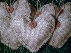 6 NEW HANDMADE PRIMITIVE RUSTIC COUNTRY STYLE BURLAP HEARTS CHRISTMAS ORNAMENTS from ebay.com
