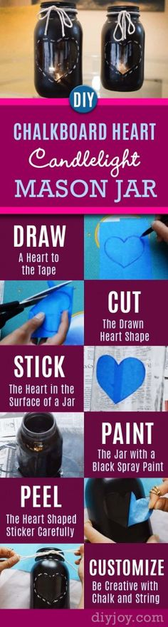76 Crafts To Make and Sell - Easy DIY Ideas for Cheap Things To Sell on Etsy, Online and for Craft Fairs. Make Money with These Homemade Crafts for Teens, Kids, Christmas, Summer, Mother's Day Gifts. |  Chalkboard Heart Candlelight Mason Jar  |  diyjoy.com/crafts-to-make-and-sell