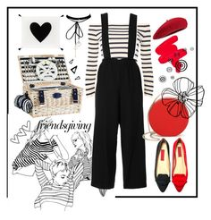 """""""Friendsgiving #1: Got Red and Stripped!"""" by dfarhany on Polyvore featuring Topshop, Eddie Borgo, WithChic, Les Jardins de la Comtesse, PBteen, Obsessive Compulsive Cosmetics and Nika"""
