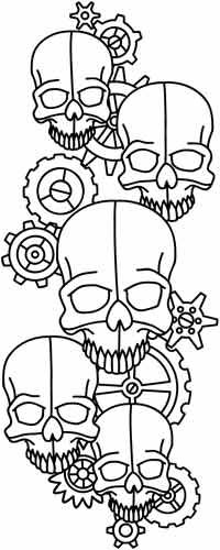Embroidery Designs at Urban Threads - Clockwork Skulls Paper Embroidery, Embroidery Patterns, Cross Stitch Patterns, Leather Tooling Patterns, Leather Pattern, Skull Coloring Pages, Coloring Book Pages, Foto Gif, Urban Threads