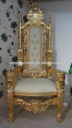 King and queen royal carved decoration chairs and table XY4851