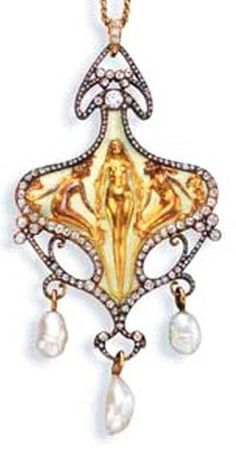 AN ART NOUVEAU DIAMOND, BAROQUE PEARL AND ENAMEL PENDANT NECKLACE, BY RENE LALIQUE The pendant, depicting three sculpted nude women on an opalescent enamel background with an old European and rose-cut diamond sinewy vine surround, suspending three baroque pearls, to the detachable diamond-set pendant hoop and fine link gold neckchain, circa 1900, 14½ ins. Signed Lalique for René Lalique