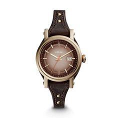 Small Original Boyfriend Three-Hand Date Leather Watch \u2013 Dark Brown