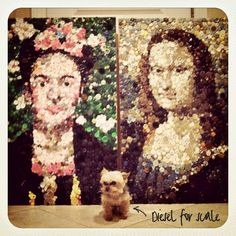 The Mona Lisa...using 2,000 buttons.  Great video of artist assembling the project.  The little girl, Boo, is just precious.