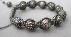 bracelet with pave diamond bead macrame by by rockedjewelry, $1800.00