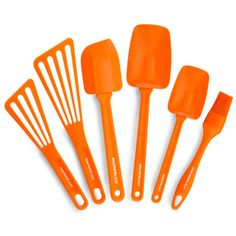 "Rachael Ray 6-pc. Tool Set (051153515514) Rachael Ray brings you her favorite utensils in one convenient 6-piece tool set. long, flexible heads comfortable, easy-grip handles ideal for nonstick pans 6-piece set includes: 9½"" and 12½"" Spoonulas for scraping, turning, and stirring; heat-safe heads up to 500°F 10"" Lil' Devil spatula; heat-safe head up to 500°F 10"" and 12"" slotted nylon spatulas with angled heads for flipping, scraping and serving; heat-safe heads up to 400°F pastry brush; ..."