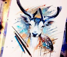 Pixie Deer, watercolor by Pixie Cold, 29x42, 2015