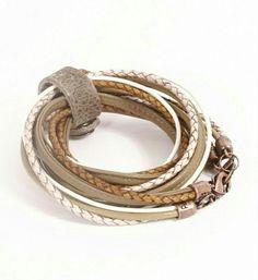 Prachtige armband in bruin/wit tinten