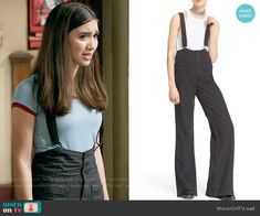 Free People Pinstripe Flare Overalls worn by Rowan Blanchard on Girl Meets World Riley Matthews, Girl Meets World, Boy Meets, Cute Casual Outfits, Chic Outfits, Fashion Tv, Girl Fashion, Suspenders Outfit, Tv Show Outfits