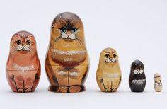 Cat family stacking dolls matryoshka nesting by artmatryoshka