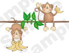 JUNGLE MONKEY WALL BORDER DECALS BABY BOY GIRL NURSERY KIDS ROOM STICKERS DECOR