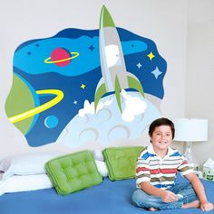 Plane in Sky Space Boys Wall Murals Stickers for Bedroom Interior Decorating Ideas