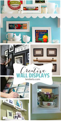 So many creative wall display ideas! Gallery walls, shelves, photo groupings and more. Inspiring!