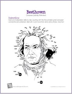 Ludwig van Beethoven | Multiplication Connect-the-Dot Worksheet